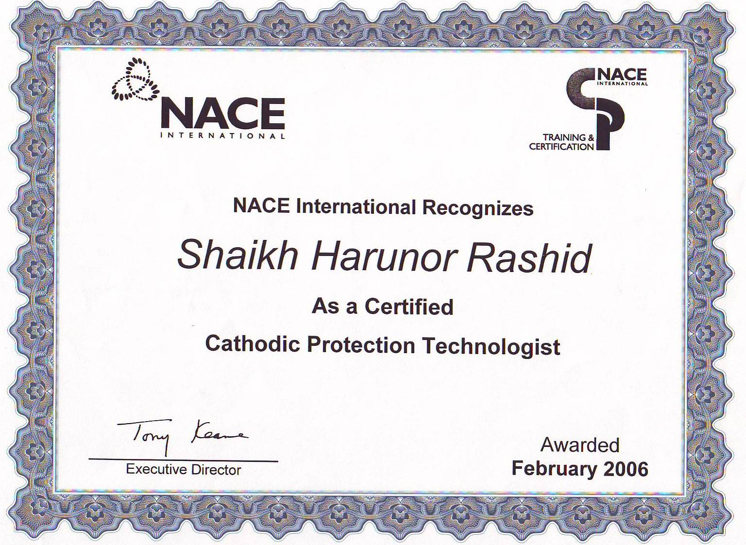 nace protection cathodic corrosion technologist certification technology inspector coating internal